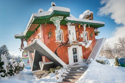 House upside down in winter