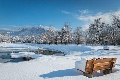 Bathing lake Weißlahn in winter