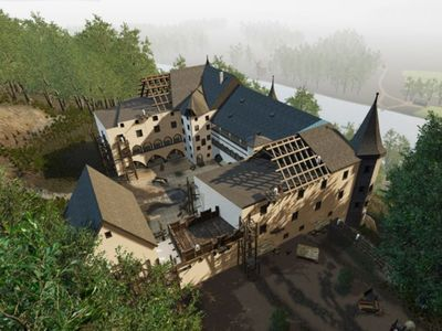 Blick auf Schloss Tratzberg mit VR-Brille